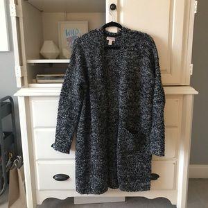 Forever21 Marled Grey/Black Knit Longline Cardigan